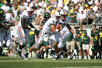 2 September 2006: Trent Edwards during Stanford's 48-10 loss to the Oregon Ducks at Autzen Stadium in Eugene, OR. Allen Smith is in the backround.