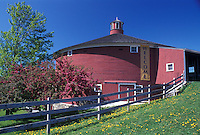 round barn, museum, Vermont, Shelburne, VT, The round red barn at the entrance to the Shelburne Museum in Shelburne in the spring.