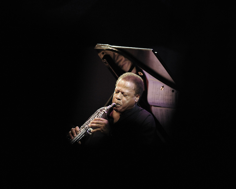 Jazz legend Wayne Shorter plays saxophone during the 2014 Monterey Jazz Festival.
