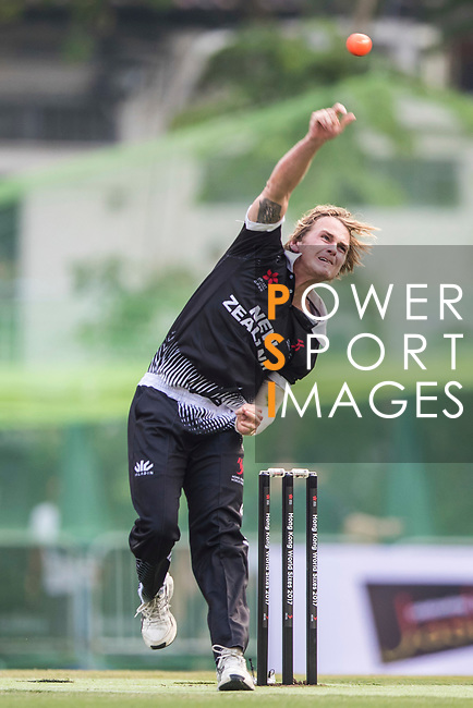 Elliott Herd of New Zealand Kiwis bowls during Day 1 of Hong Kong Cricket World Sixes 2017 Group B match between New Zealand Kiwis vs Australia at Kowloon Cricket Club on 28 October 2017, in Hong Kong, China. Photo by Vivek Prakash / Power Sport Images