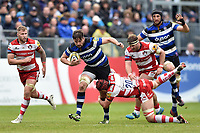 Elliott Stooke of Bath Rugby takes on the Gloucester Rugby defence. Aviva Premiership match, between Bath Rugby and Gloucester Rugby on April 30, 2017 at the Recreation Ground in Bath, England. Photo by: Patrick Khachfe / Onside Images