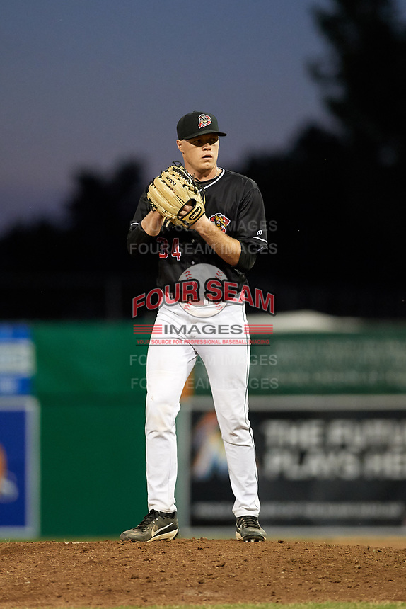 Batavia Muckdogs relief pitcher Tanner Andrews (34) gets ready to deliver a pitch during a game against the State College Spikes on July 7, 2018 at Dwyer Stadium in Batavia, New York.  State College defeated Batavia 7-4.  (Mike Janes/Four Seam Images)