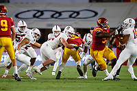 LOS ANGELES, CA - SEPTEMBER 7: Stanford Cardinal linebacker Casey Toohill #52 tackles USC Trojans running back Stephen Carr #7 during a game between USC and Stanford Football at Los Angeles Memorial Coliseum on September 7, 2019 in Los Angeles, California.