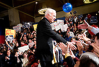 John McCain, U.S. senator from Arizona and 2008 Republican presidential candidate, greets supporters after a Watch Party in Dallas, Texas, U.S., on Tuesday, March 4, 2008. McCain won the nomination for the Republican Party for the presidential nomination on Tuesday by receiving 1191 delegates. Photographer: Matt Nager/Bloomberg News