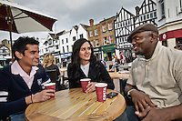 Photos for Kingston University  London international student brochures and prospectuses.??Lively and historic environment -.Market place - street cafe..??Date Taken: 19/04/10??Location: ??Contact:??Commissioned by:  Kingston University - Emma Carlino?Emma Carlino.International Marketing Communications Manager.International Centre.Kingston University London.Swan Wing, River House.53-57 High Street.Kingston upon Thames.London.KT1 1LQ.UK.Tel: +44(0)20 8417 3006.Fax: +44(0)20 8417 3028.Email: e.carlino@kingston.ac.uk.Website: www.kingston.ac.uk/international
