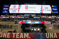 Jacksonville, FL - Thursday, April 05, 2018:  Hisense scoreboard during a friendly match between USA and Mexico at EverBank Stadium.  USA defeated Mexico 4-1.