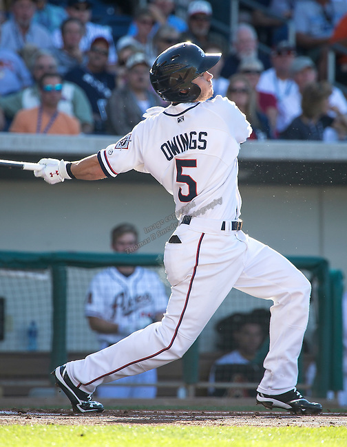 Aces shortstop Chris Owings swings during the Triple-A All-Star game played on Wednesday night, July 17, 2013 at Aces Ballpark in Reno, Nevada.