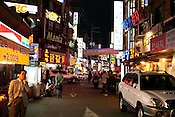Typical night scenes of a small restaurant district in central Seoul.