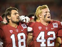 Stanford, CA - October 5, 2019: Jack Richardson, Caleb Phillips at Stanford Stadium. The Stanford Cardinal beat the University of Washington Huskies 23-13.