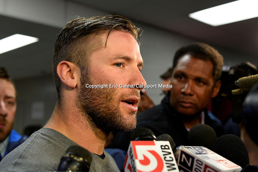 June 5, 2014 - Foxborough, Massachusetts, U.S. - New England Patriots wide receiver Julian Edelman (11) talks to the media at the team's organized team activity at Gillette Stadium in Foxborough, Massachusetts. Eric Canha/CSM