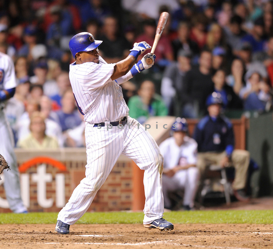 MARLIN BYRD,  of the Chicago Cubs  in action  during the Cubs game against the  Oakland A's .  The A's beat the Cubs 10-2 in Chicago, Illinois on June 15, 2010...DAVID DUROCHIK / SPORTPICS