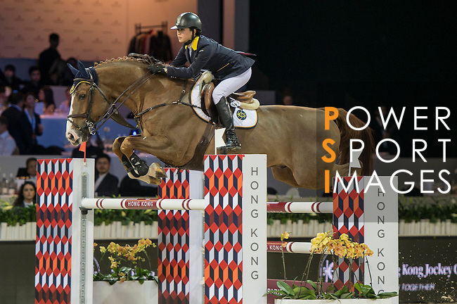 Jacqueline Lai of Hong Kong riding Basta during the Hong Kong Jockey Club Trophy competition, part of the Longines Masters of Hong Kong on 10 February 2017 at the Asia World Expo in Hong Kong, China. Photo by Marcio Rodrigo Machado / Power Sport Images
