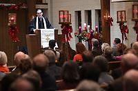 NWA Democrat-Gazette/J.T. WAMPLER Reverend Terry Goshell, senior pastor, speaks Sunday Jan. 5, 2020 at Trinity United Methodist Church in Fayetteville.