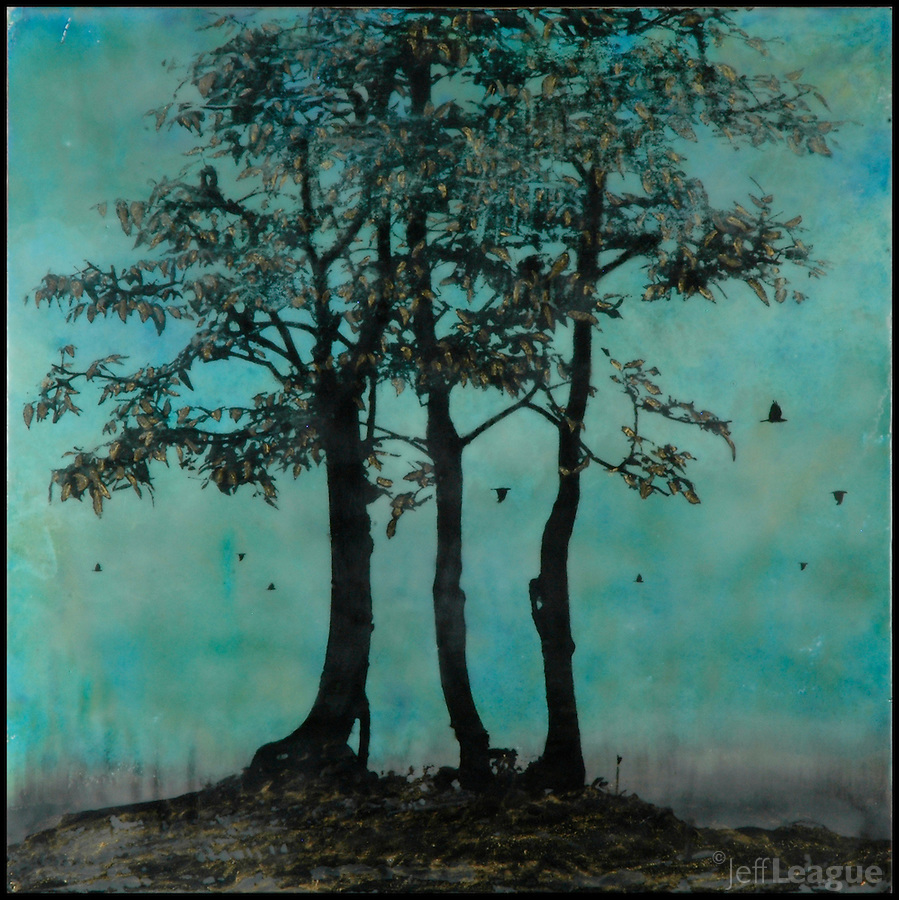 Trees mixed media encaustic painting with photography.