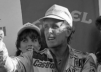 Price Cobb celebrates in victory lane after driving his Castrol Racing Jaguar XJR-10 to victory in the IMSA GTP/Lights race at the Florida State Fairgrounds in Tampa, FL, October 1, 1989.  (Photo by Brian Cleary/www.bcpix.com)