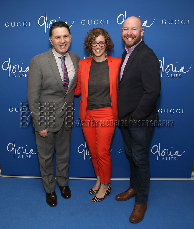"""The Press Room: Jim Byk, Kelly Guiod and Shane Marshall Brown attends the Opening Night Performance of """"Gloria: A Life"""" on October 18, 2018 at the Daryl Roth Theatre in New York City."""