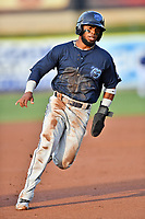 Mobile BayBears shortstop Luis Rengifo (9) rounds third base during a game against the Tennessee Smokies at Smokies Stadium on June 2, 2018 in Kodak, Tennessee. The BayBears defeated the Smokies 1-0. (Tony Farlow/Four Seam Images)