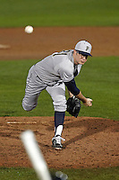 Pittsburgh Panthers pitcher J.R. Leonardi #31 delivers a pitch during a game against the Michigan Wolverines at the Big Ten/Big East Challenge at Florida Auto Exchange Stadium on February 17, 2012 in Dunedin, Florida.  (Mike Janes/Four Seam Images)