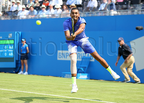 June 19th 2017, Queens Club, West Kensington, London; Aegon Tennis Championships, Day 1; A patched up Nick Kyrgios of Australia plays a backhand versus Donald Young of USA