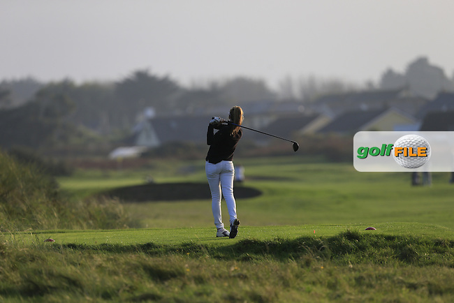 Caroline Hewitt (UCD) on the 17th tee during Round 1 of the Irish Intervarsity Championship at Rosslare Golf Club on Wednesday 4th November 2015.<br /> Picture:  Thos Caffrey / www.golffile.ie