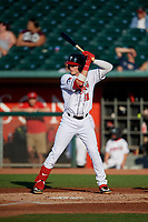 Lansing Lugnuts Griffin Conine (38) at bat during a Midwest League game against the Burlington Bees on July 18, 2019 at Cooley Law School Stadium in Lansing, Michigan.  Lansing defeated Burlington 5-4.  (Mike Janes/Four Seam Images)