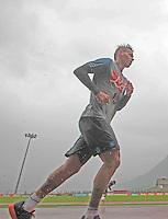 pioggia<br /> ritiro precampionato Napoli Calcio a  Dimaro 26 Luglio 2014<br /> <br /> Preseason summer training of Italy soccer team  SSC Napoli  in Dimaro Italy July 26, 2014