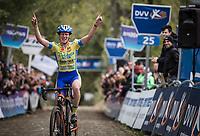 race winner Kim Van de Steene (BEL/Tarteletto Isorex)<br /> <br /> women's race.<br /> Koppenbergcross Belgium 2018