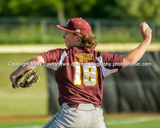 Southeast Polk and Ankeny met for a double header at SEP June 21. SEP prevailed twice, 2-0 and 8-1. AHS's Austin Probasco delivers his pitch.