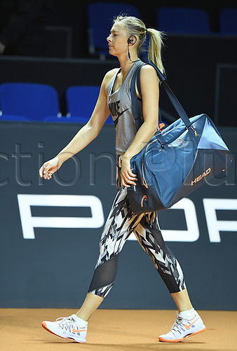 April 26th 2017. Stuttgart, Germany; Porsche Grand Prix womens tennis tournament;  dpatop - Russian Tennis player Maria Sharapova practices during the first day after her doping ban at the Women's Stuttgart Open ('Porsche Tennis Grand Prix') at the Porsche Arena in Stuttgart, Germany