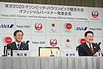 (L-R) Osamu Shinobe, Yoshinaru Ueki, <br /> JUNE 15, 2015 : <br /> JAL and ANA has Press conference in Tokyo. <br /> JAL and ANA announced that it has entered into a partnership agreement with the Tokyo Organising Committee of the Olympic and Paralympic Games. With this agreement, JAL and ANA becomes the official partner. <br /> (Photo by AFLO SPORT)