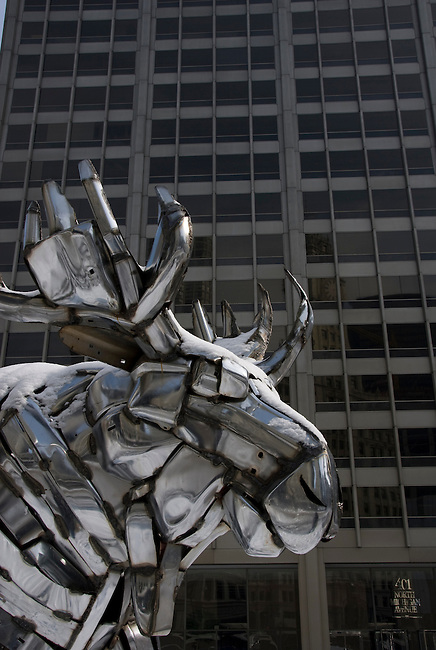 Metal sculpture of moose during winter morning along Michigan Avenue in downtown, Chicago, Illinois, USA