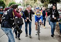 rac ewinner Piet Allegaert (BEL/Sport Vlaanderen-Baloise) escorted to the podium<br /> <br /> 79th Tour de l'Eurométropole 2019 (BEL/1.HC)<br /> One day race from La Louvière to Tournai (177km)<br /> <br /> ©kramon