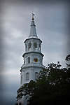 "A church steeple stands against the overcast sky. I snapped this one at dusk. The Charleston area churches are so rich with history, leading to the city's nickname of ""The Holy City"". The historic Charleston Battery and the Charleston SC Area"