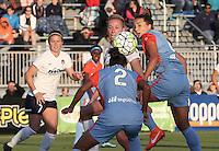 Boyds, MD - Saturday May 14, 2016: Houston Dash defender Poliana Barbosa (2) heads away from Washington Spirit midfielder Joanna Lohman (15) during a regular season National Women's Soccer League (NWSL) match at Maureen Hendricks Field, Maryland SoccerPlex. The Washington Spirit defeated the Houston Dash 1-0.