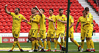 Fleetwood Town celebrate after Ched Evans (9) gives them the lead from the penalty spot<br /> <br /> Photographer David Shipman/CameraSport<br /> <br /> The EFL Sky Bet League One - Doncaster Rovers v Fleetwood Town - Saturday 6th October 2018 - Keepmoat Stadium - Doncaster<br /> <br /> World Copyright &copy; 2018 CameraSport. All rights reserved. 43 Linden Ave. Countesthorpe. Leicester. England. LE8 5PG - Tel: +44 (0) 116 277 4147 - admin@camerasport.com - www.camerasport.com