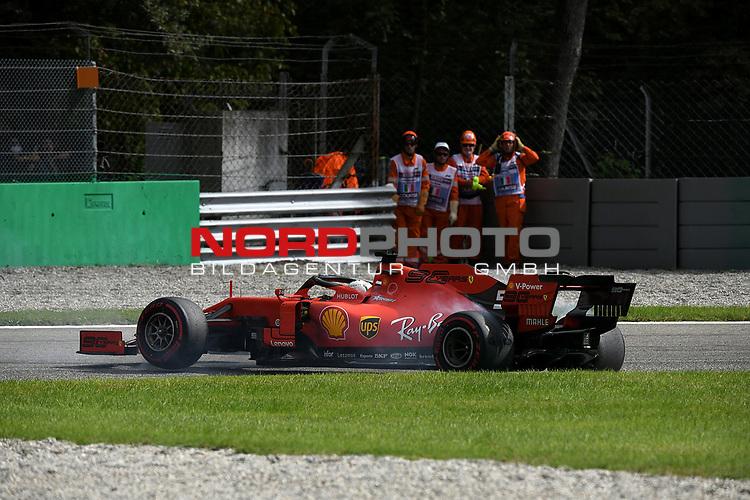 "08.09.2019, Autodromo Nazionale di Monza, Monza, FORMULA 1 GRAN PREMIO HEINEKEN D'ITALIA 2019<br />,im Bild<br />Sebastian Vettel (GER#5), Scuderia Ferrari Mission Winnow verliert seinen Ferrari in der ""Variante Ascari""<br /> <br /> Foto © nordphoto / Bratic"