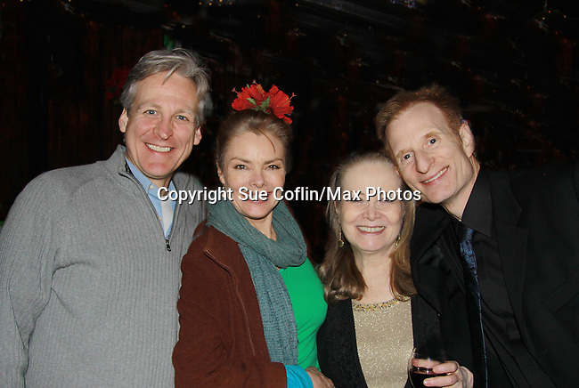"""All My Children's Tom Galantich """"Dr. Chappell"""", also  """"Mark Casey"""" OLTL and """"Dr. Swan"""" ATWT poses with Guiding Light Denise Pence """"Katie Parker"""" on Guiding Light and was producer of the event, Joanne Dorian original """"Viki""""  on OLTL and Nick Corley (director Pygmalion) at """"Union Women at Work: Inspiration In Motion"""" on March 5, 2012 at Theatre at Saint Peter's Church - Home of The York Theatre, New York City, New York which was Sponsored by Actors' Equity Associations Eastern EEO Committee.  The event was an Equity event in celebration of Womens History Month................. at Theatre at Saint Peter's Church - Home of The York Theatre, New York City, New York which was Sponsored by Actors' Equity Associations Eastern EEO Committee.  The event was an Equity event in celebration of Womens History Month.  (Photo by Sue Coflin/Max Photos)"""
