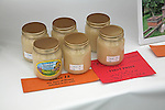 Prize winning jars of honey on display, Suffolk Smallholders annual show, Stonham Barns, Suffolk, England, July 2008