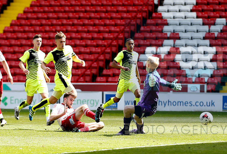 Ben Whiteman of Sheffield Utd equalises during the PDL U21 Final at Bramall Lane Sheffield. Photo credit should read: Simon Bellis/Sportimage
