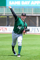 Great Lakes Loons pitcher Wills Montgomerie (36) warms up in the outfield prior to a Midwest League game against the Wisconsin Timber Rattlers on May 12, 2018 at Fox Cities Stadium in Appleton, Wisconsin. Wisconsin defeated Great Lakes 3-1. (Brad Krause/Four Seam Images)