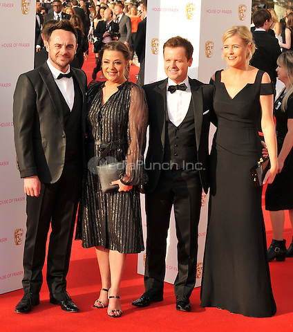 Anthony McPartlin, Lisa Armstrong, Declan Donnelly &amp; Ali Astall at the British Academy (BAFTA) Television Awards 2016, Royal Festival Hall, Belvedere Road, London, England, UK, on Sunday 08 May 2016.<br /> CAP/CAN<br /> &copy;CAN/Capital Pictures /MediaPunch ***NORTH AMERICAN AND SOUTH AMERICAN SALES ONLY***