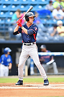 Rome Braves center fielder Drew Waters (11) awaits a pitch during a game against the Asheville Tourists at McCormick Field on July 6, 2018 in Asheville, North Carolina. The Tourists defeated the Braves 7-4. (Tony Farlow/Four Seam Images)