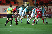 29th September 2017, Parc y Scarlets, Llanelli, Wales; Guinness Pro14 Rugby, Scarlets versus Connacht; Ultan Dillane of Connacht eyes up a gap as he attacks towards Scarlets