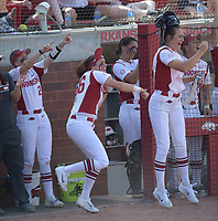 NWA Democrat-Gazette/ANDY SHUPE<br /> Arkansas players celebrate Friday, May 18, 2018, after Haydi Bugarin singles to score a run during the third inning against DePaul at Bogle Park during the NCAA Fayetteville Softball Regional on the university campus in Fayetteville. Visit nwadg.com/photos to see more photographs from the game.