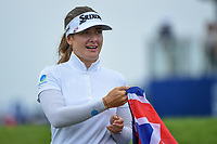 Hannah Green (AUS) is given an Australia flag as she approaches the green on 18 for the trophy presentation following round 4 of the KPMG Women's PGA Championship, Hazeltine National, Chaska, Minnesota, USA. 6/23/2019.<br /> Picture: Golffile | Ken Murray<br /> <br /> <br /> All photo usage must carry mandatory copyright credit (© Golffile | Ken Murray)
