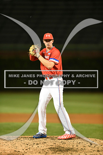 Matt Rudis (19) of Madisonville High School in Madisonville, Texas during the Under Armour All-American Game presented by Baseball Factory on July 29, 2017 at Wrigley Field in Chicago, Illinois.  (Mike Janes/Four Seam Images)