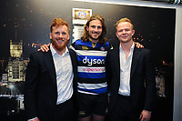 Rory Jennings, Max Clark and Will Homer of Bath Rugby pose for a photo after the match. Aviva Premiership match, between Bath Rugby and London Irish on May 5, 2018 at the Recreation Ground in Bath, England. Photo by: Patrick Khachfe / Onside Images