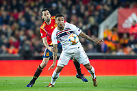Norway's Joshua King and Spain's Sergio Busquets  during the qualifying match for Euro 2020 on 23th March, 2019 in Valencia, Spain. (ALTERPHOTOS/Alconada)<br /> Valencia 23-03-2019 <br /> Football Qualifying match Euro2020<br /> Spain Vs Norway <br /> foto Alterphotos/Insidefoto <br /> ITALY ONLY