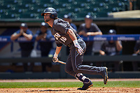 Chase Murray (10) of the Georgia Tech Yellow Jackets starts down the first base line against the Miami Hurricanes during game one of the 2017 ACC Baseball Championship at Louisville Slugger Field on May 23, 2017 in Louisville, Kentucky. The Hurricanes walked-off the Yellow Jackets 6-5 in 13 innings. (Brian Westerholt/Four Seam Images)