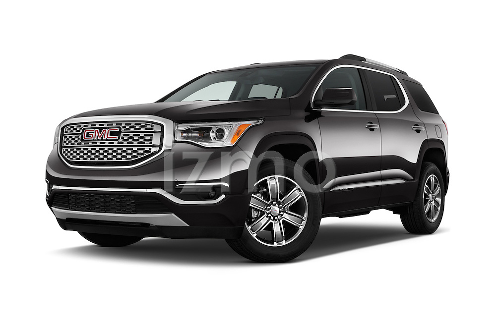Stock pictures of low aggressive front three quarter view of 2018 GMC Acadia Denali 5 Door SUV Low Aggressive